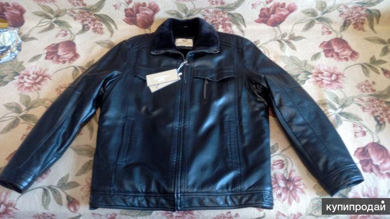 Кожаная мужская зимняя куртка. 52-54 (XXL)