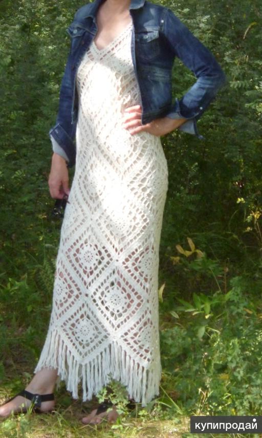 Продам вязаное платье ручной работы