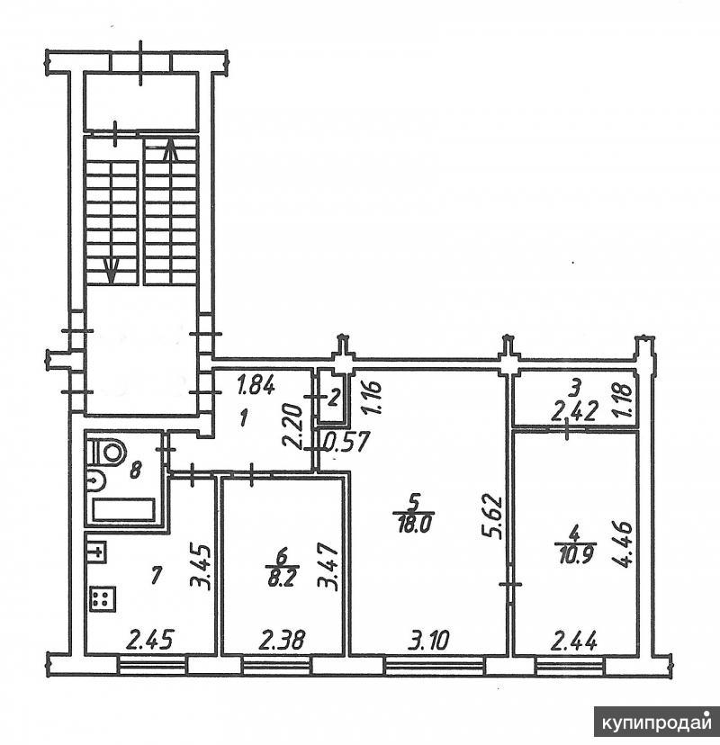 3-к квартира, 55 м2, 1/5 эт.