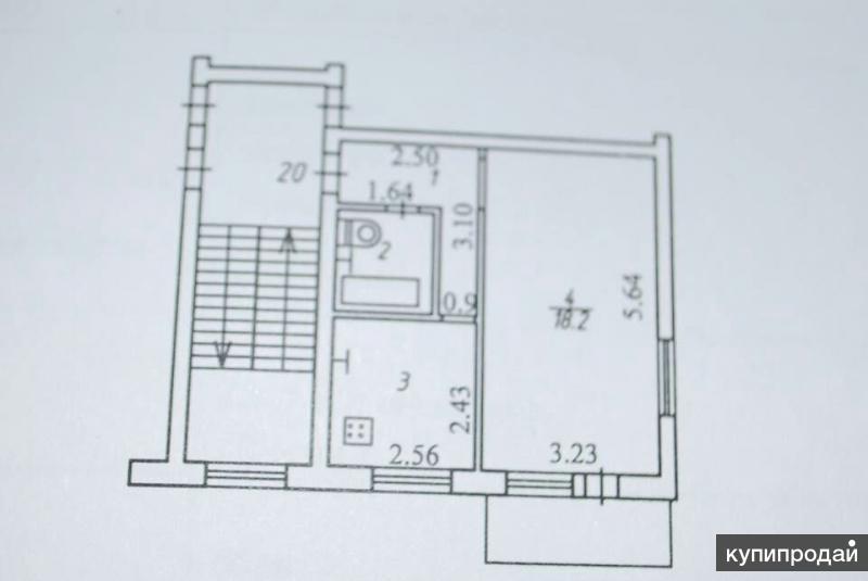 1-к квартира, 32 м2, 5/5 эт.