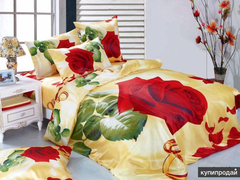 Шелковое постельное белье 3D 449. Плед в подарок