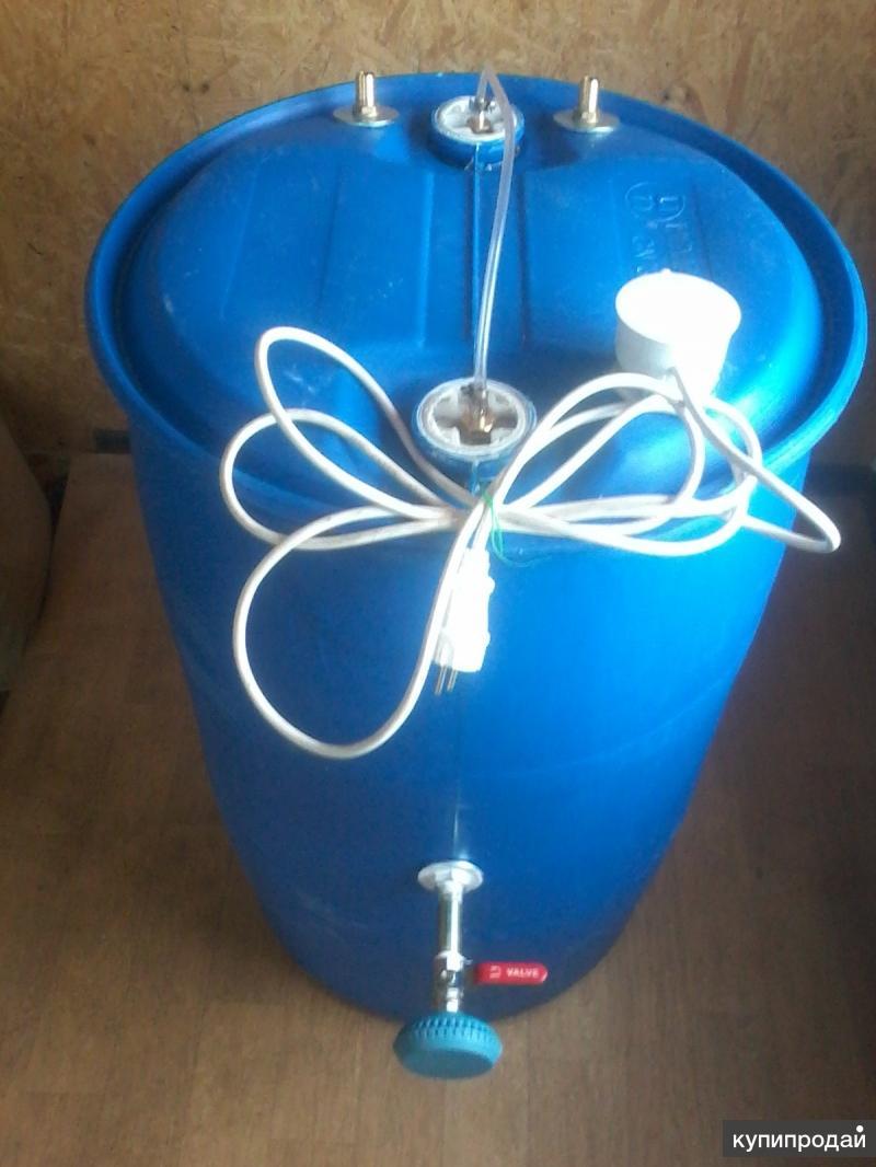 Душ из пластиковой бочки на 220 л с подогревом