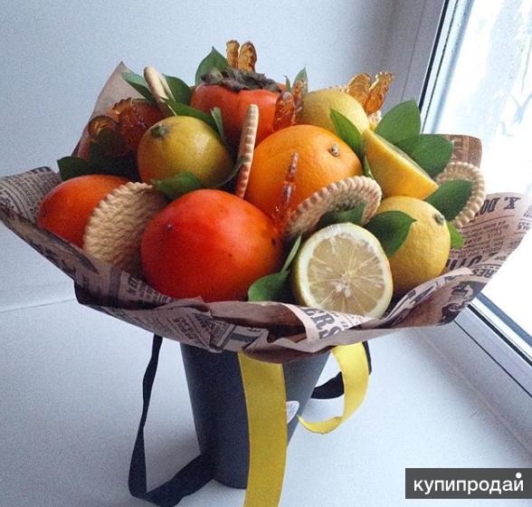 Букеты из фруктов и конфет своими руками мастер класс