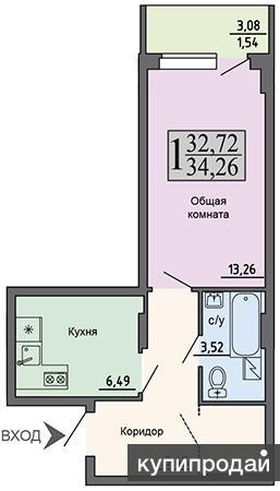 1-к квартира, 34 м2, 5/17 эт.