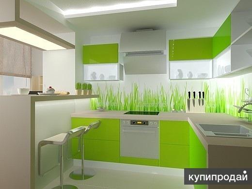 Кухня бело-зеленая дизайн