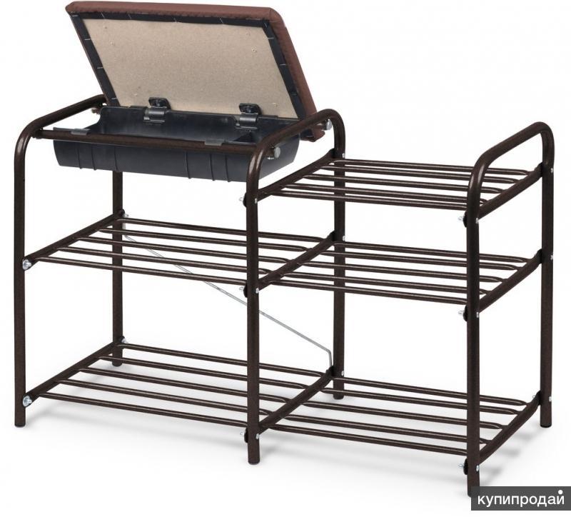 этажерка обувная металлическая с ящиком-банкеткой