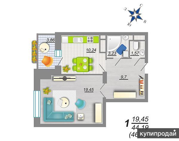 """Продаётся1-к квартира, 46 м2, 6/25 эт. ЖК """"Дельфин"""""""