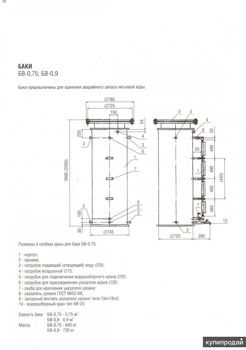 Баки  для воды БВ-0,75;БВ-0,9;БВ-0,25