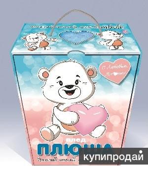 Детский плед ПЛЮША 110*140 в подарочной коробке