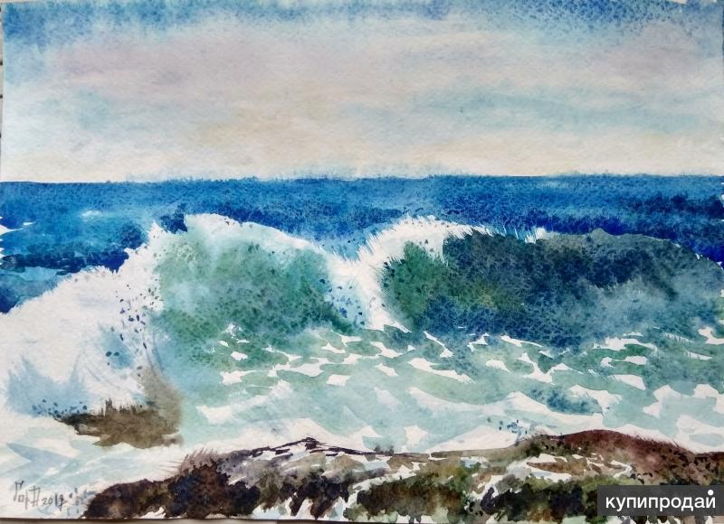 Море волна акварель живопись картина