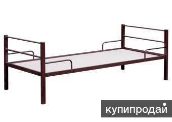 Металлические одноярусные кровати для строителей в общежития и в бытовки.