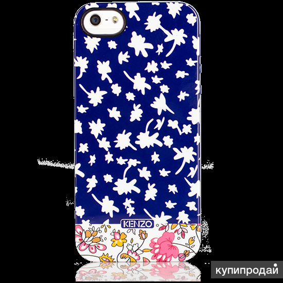 Чехол накладка Kenzo Exotic series синий/белый для iPhone 5 / 5s