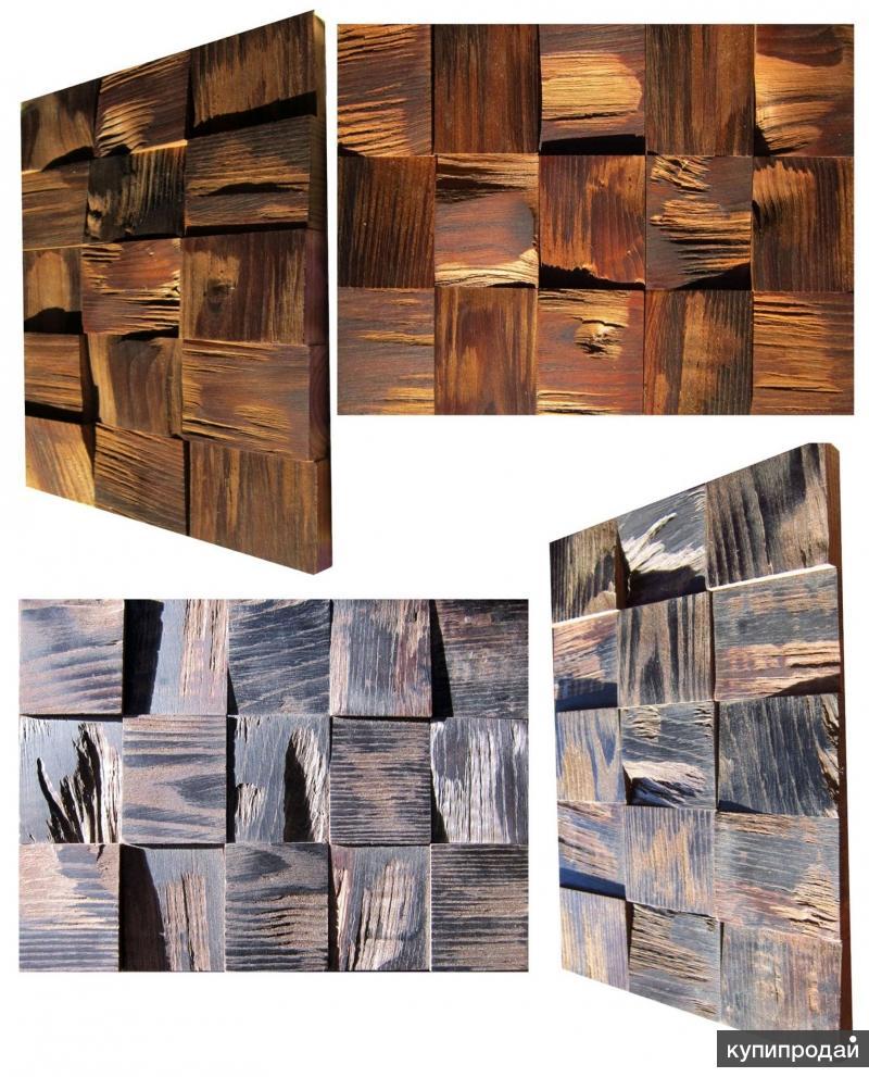 3D стеновые панели из карагача, ясеня, ореха, акации, дуба и камня