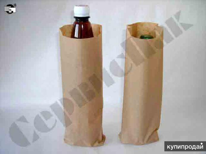 бумажные крафт пакеты под пивную бутылку с плоским дном