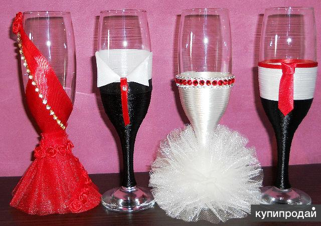Бокалы на свадьбу как сделать