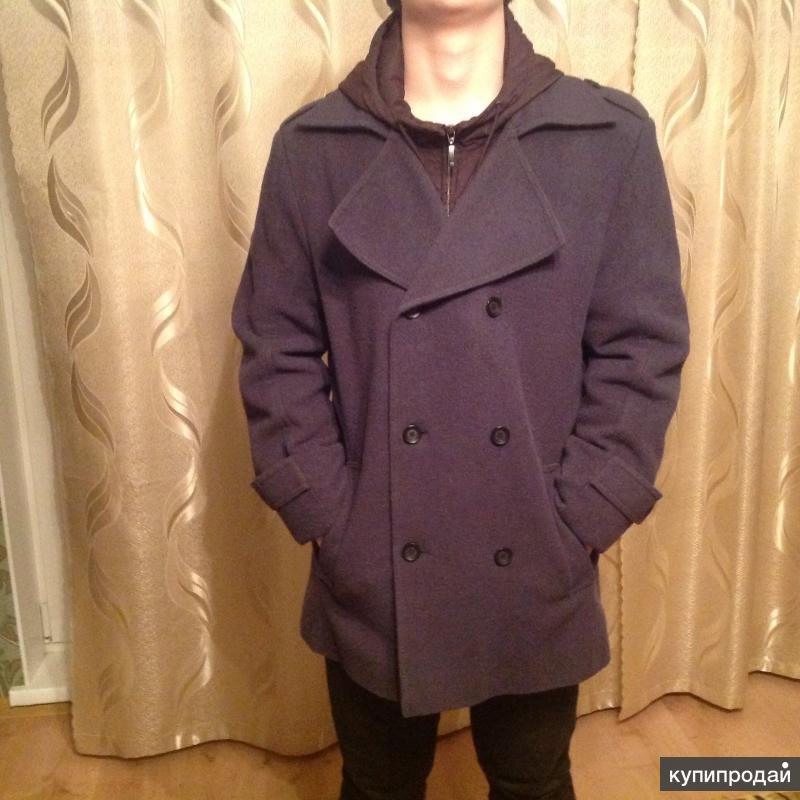 """Пальто мужское весна-осень с капюшоном """"классика"""" утепленное"""