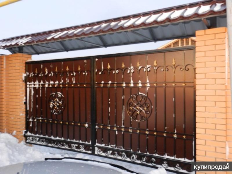 Ворота с навесом своими руками