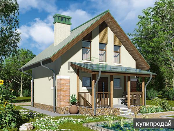 Проект каркасного дома 6,4x8,5 м с террасой.