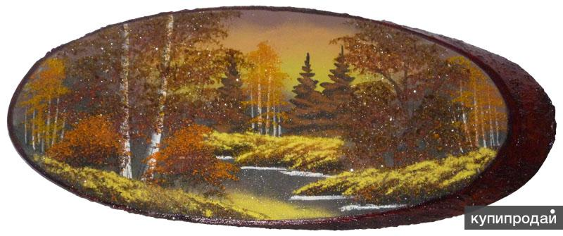 "Картина ""Янтарный закат"" на срезе дерева"