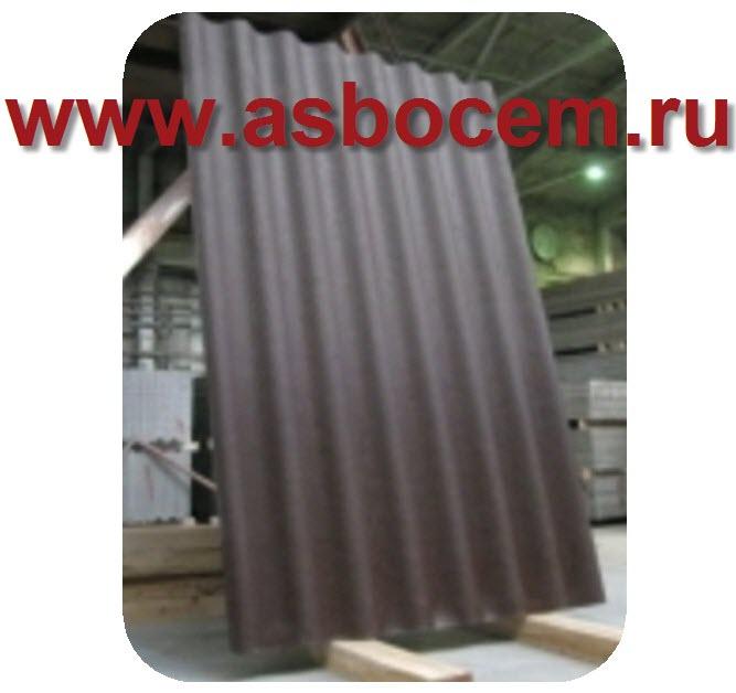 Шифер волновой 1750х1130х5,2 мм, тип СВ-40, коричневый, 8 волн