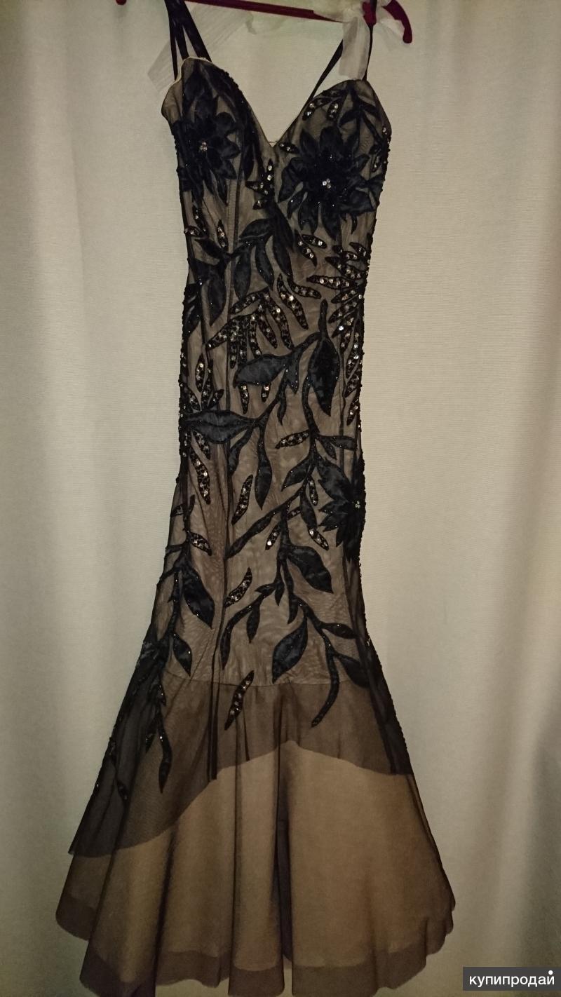 Платье вечернее черно-коричневое Sagaie