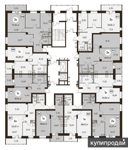 Продаётся квартира в новом строящемся доме, не угловая, с большой кухней(12 кв.