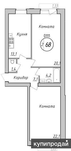 Продаётся двухкомнатная квартира в новом доме с индивидуальным газовым