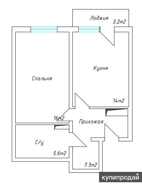 1-к квартира, 45 м2, 11/14 эт.