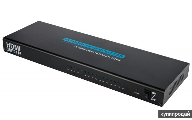 HDMI Разветвитель на 16 мониторов (1 вход - 16 выходов), активный