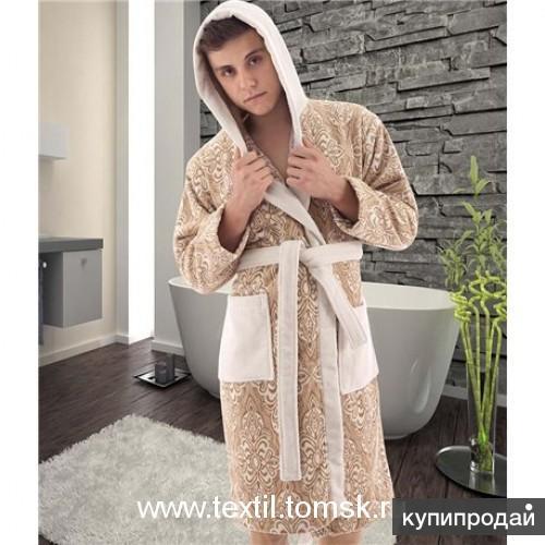 Мужской махровый халат с капюшоном. Dantela Vita.