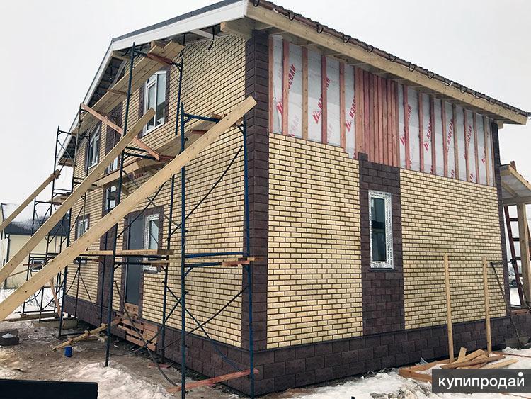 Отделка фасадов частных домов панелями под кирпич