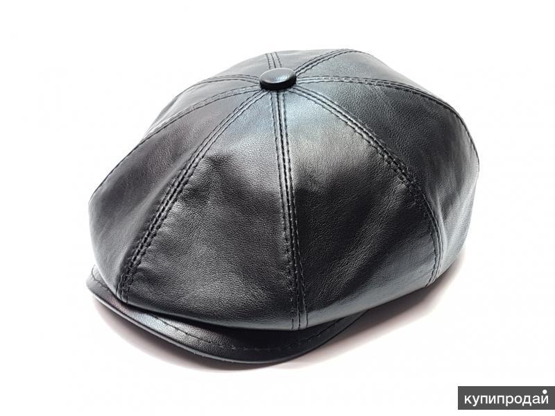 Кепка гаврош восьмиклинка натуральная кожа  (черный)