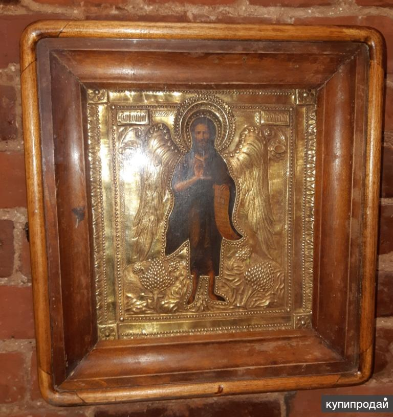 Икона Иоанн Предтеча в киоте. 19 век. Темпера. Оклад позолота.