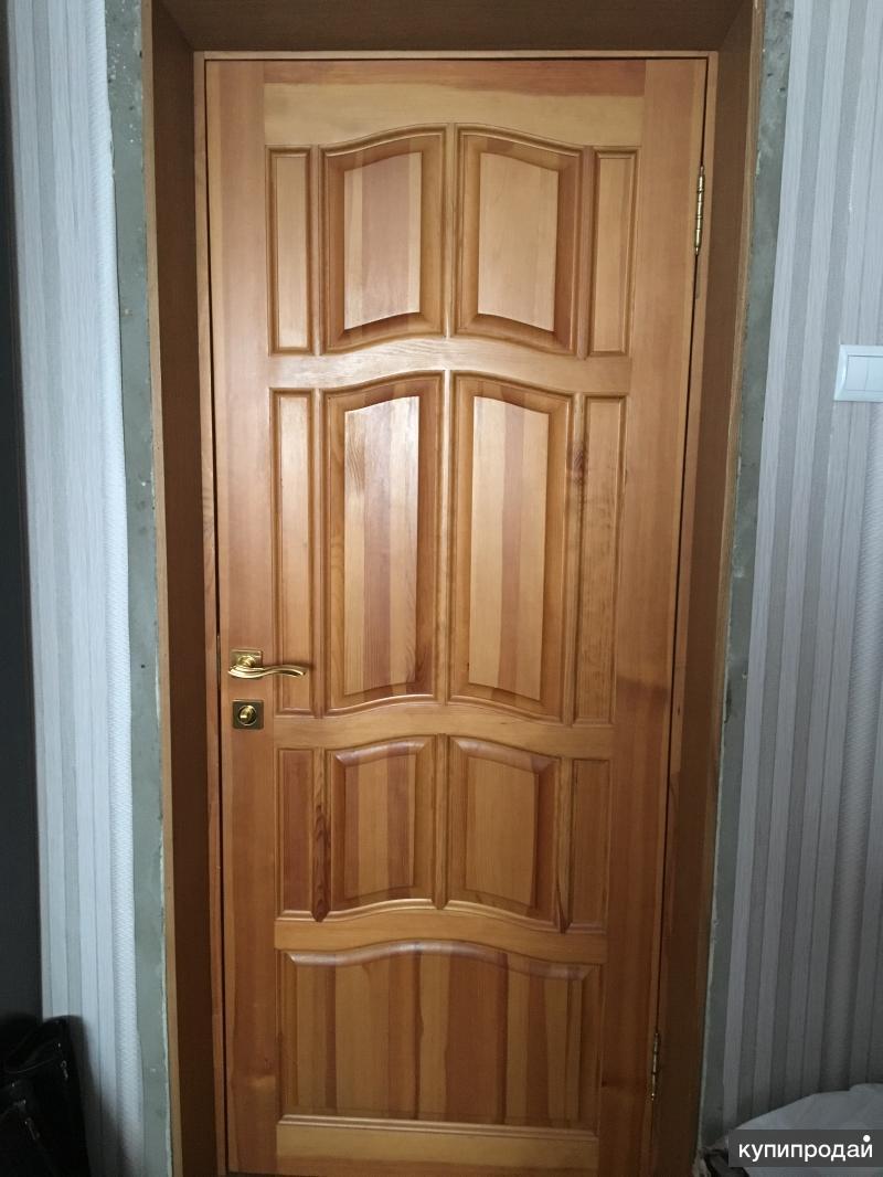 """двери б/у массив сосны Ампир """"Светлый орех"""""""