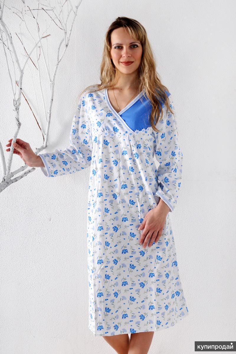 Сорочка ночная с длинным рукавом от производителя Ева, трикотаж