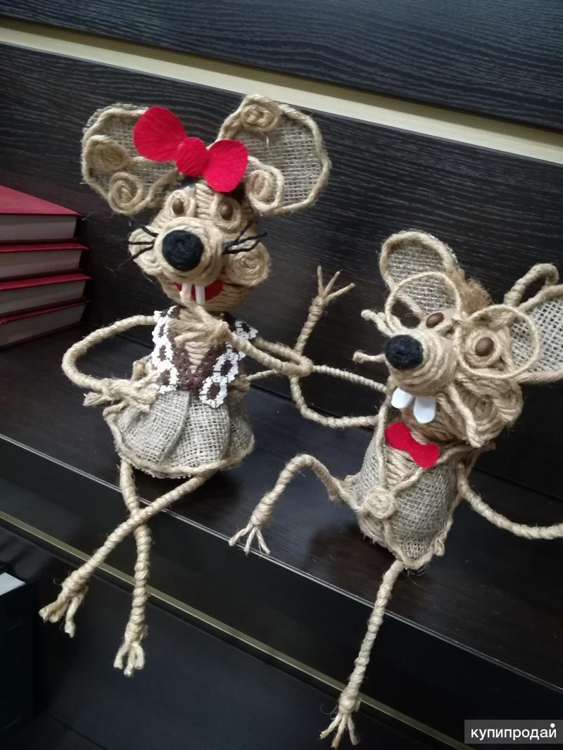 Мышки из джута ручной работы