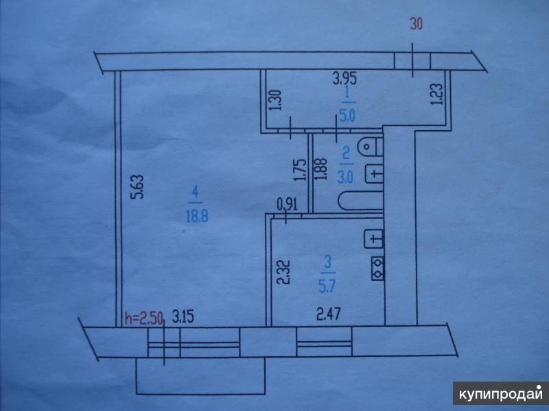 Продается квартира на 5 этаже.