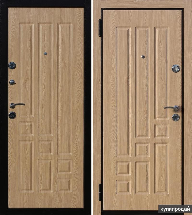 металлическая дверь со шпоном двух цветов