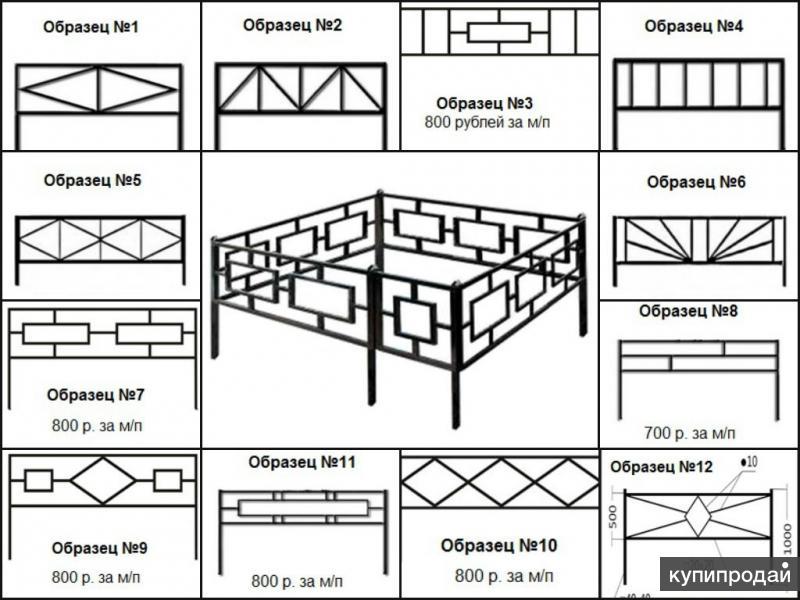 Металлические ритуальные ограды. Доставка бесплатная