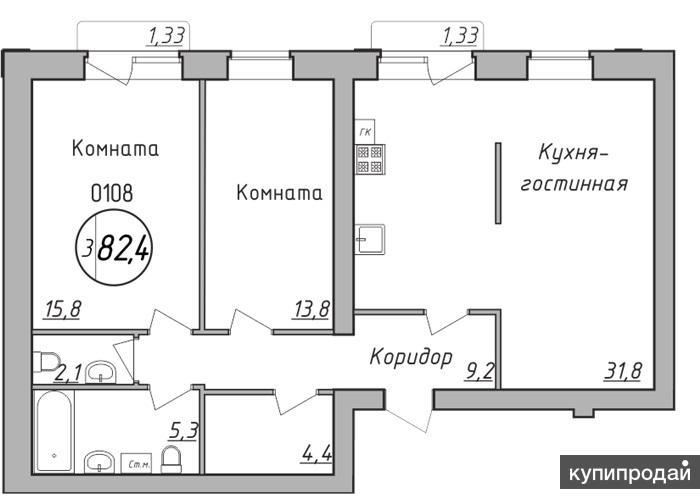 Продаётся просторная трёхкомнатная квартира в ЖК Экогород Параметры комнаты 15