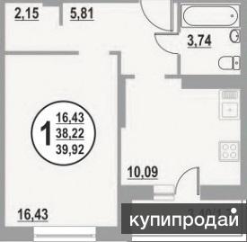 1-комнатную квартиру в ЖК Яблоневый посад 5/16 этажного кирпично-монолитного