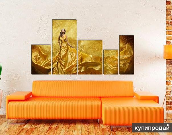 """Модульная картина Vileton """"Девушка в золоте"""""""