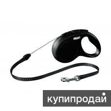 Рулетка-трос для собак до 12кг, 5м, черная, New Classic S cord