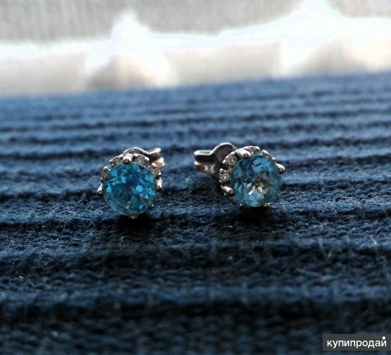 Серьги с бриллиантами и топазами (белое золото)