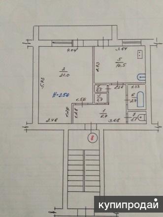1-к квартира, 43 м2, 1/2 эт. 900тыс.руб
