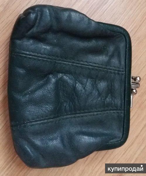 кошелёк женский зелёный на зажиме 2 кармана