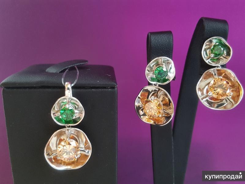 Комплект серебряный с цветными фианитами