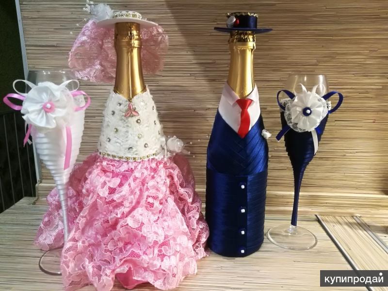 Украшение бутылок шампанского на юбилей и свадьбу