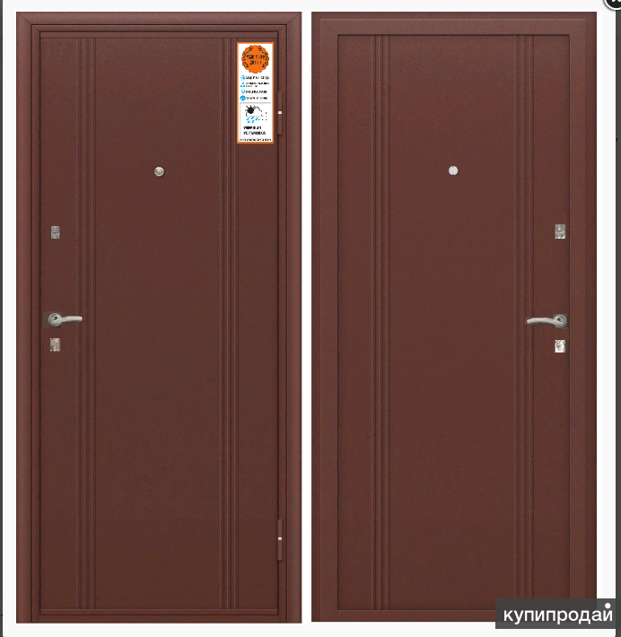 Тульские двери А06 мет-мет, два замка, раздельная ф-ра, хром (антик медный, анти