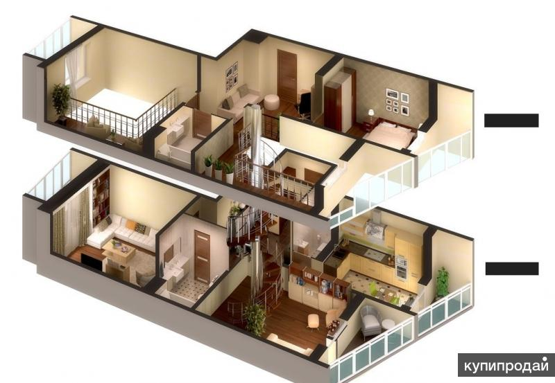 Двухуровневая квартира 47 кв.м.!